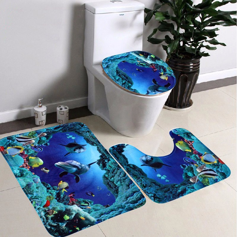 3pcs Ocean World Design Home Decor Bathroom Non Slip Rug Memory Foam Bath Mat Flannel Foam