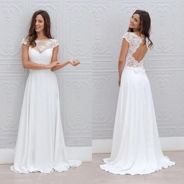 2016 Bohemian Style Wedding Dresses Illusion Neckline Capped Sleeves