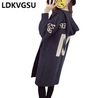 Oversized Casual Letter Sweater Coat Women Hooded Spring Cardigan Single Breasted pull longue femme Knit blusas de moda Is1131