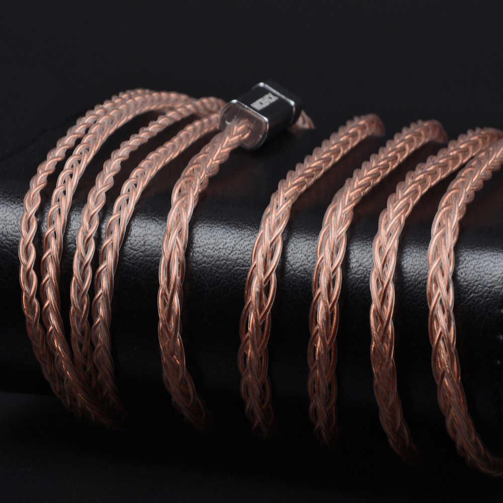 NICEHCK MMCX/2Pin złącze 4.4/3.5/2.5mm wyważone 8 rdzeń czystej miedzi kabel kabel do SE846 TRN v90 ZS10 AS10 CCAC10 NICEHCK NX7/F3/M6