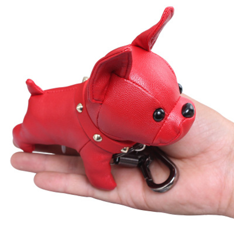 Bulldog Keychain Pu Leather Animal Dog Keyring Holder Bag Charm Trinket Chaveiros Bulldog Bag Accessories Punk Style Pendan