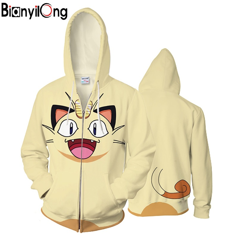 2018 new Anime 3D Hooded Sweatshirt Men Pokemon Printed Meow meow Mens Hoodies and Sweatshirts Hip Hop Style Casual Sweat Homme