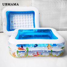 Kid Baby's Bathtub Baby Swimming Pool Cartoon Underwater World Pattern Printed Inflatable Aerated Square Newborn's Swimming Pool