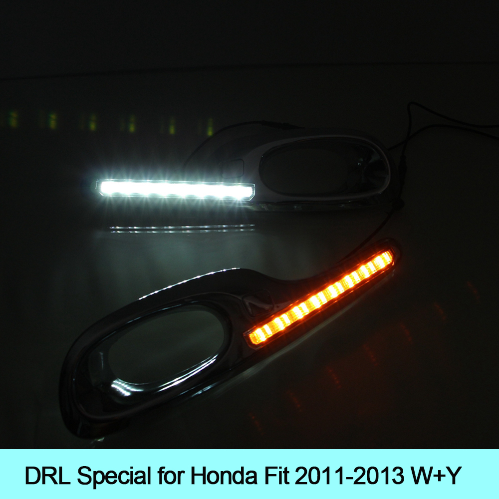 Car DRL kit for Honda Fit 2011 2012 2013 LED Daytime Running Light BAR turn signal fog auto lamp daylight car led drl 12v LIGHT for honda civic 2016 2017 2018 turn signal relay car styling waterproof 12v led car drl daytime running lights fog lamp cover