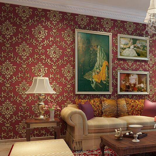 Vintage European Luxury Homes Decor Beige Red Damask Wallpaper For Walls 3 D Bedroom Living Room Nonwoven Wall Paper Rolls