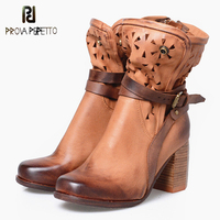 Prova Perfetto British Style Elegant Sheep Genuine Leather Ankle Buckle Hollow Out Flower Boots Back Strap