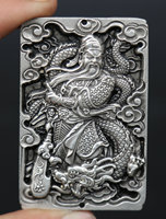 70MM/2.8 Collection China Argentan Exquisite Animal Dragon Buddhism Guan Gong Yu Warrior God Amulet Pendant Statue Statuary116g