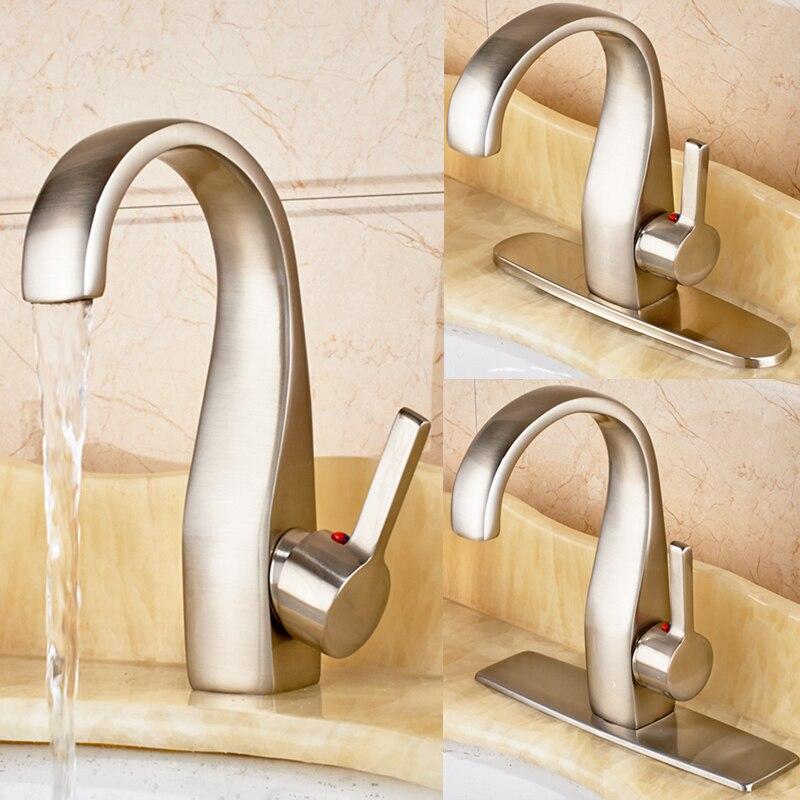 Brushed Nickel Bathroom Basin Faucet Vanity Sink Mixer Tap W/ 8