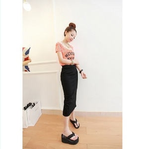 Image 5 - קוריאני נשים ארוך חצאיות גבוהה מותן Slim דק סדק חצאית Saia Longa צלעות הדוק ירך חבילת חצאית MY917