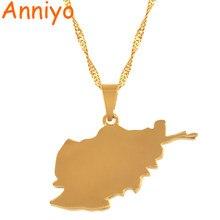 93364ac59966 Anniyo Afghanistan Carte Pendentif Colliers pour Femmes, Or Couleur Cartes  Bijoux Cadeaux  035221