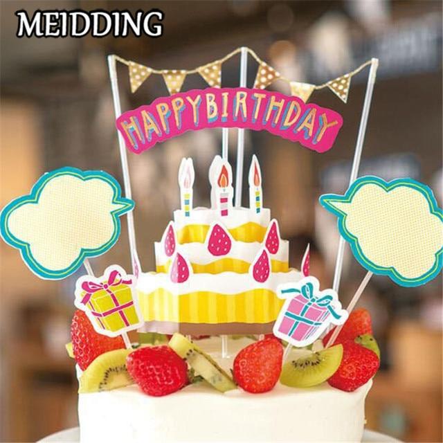 Meidding 1 Set Cake Topper Happy Birthday Picks Cake Smash