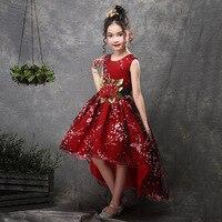 Neue Marke Blume Mädchen Kleid Kinder Prinzessin Party Hochzeit Kleider für Kinder Abschlussfeier Baby Kinder Langen Schwanz Formal Wear