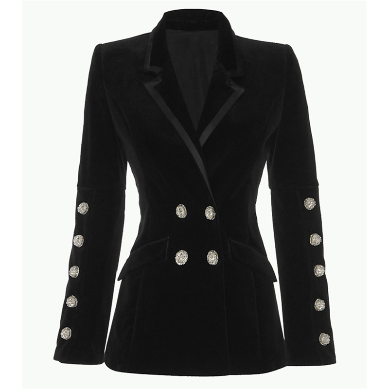 2019 date diamants velours veste femmes de haute qualité double boutonnage marque de luxe piste manteau décontracté slim velours manteau S130