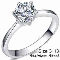 Stainless Steel Classical 1.0 Carat Solitaire Wedding Engagement Ring Proposal Statement Promise Anniversary Bridal Cubic Zircon