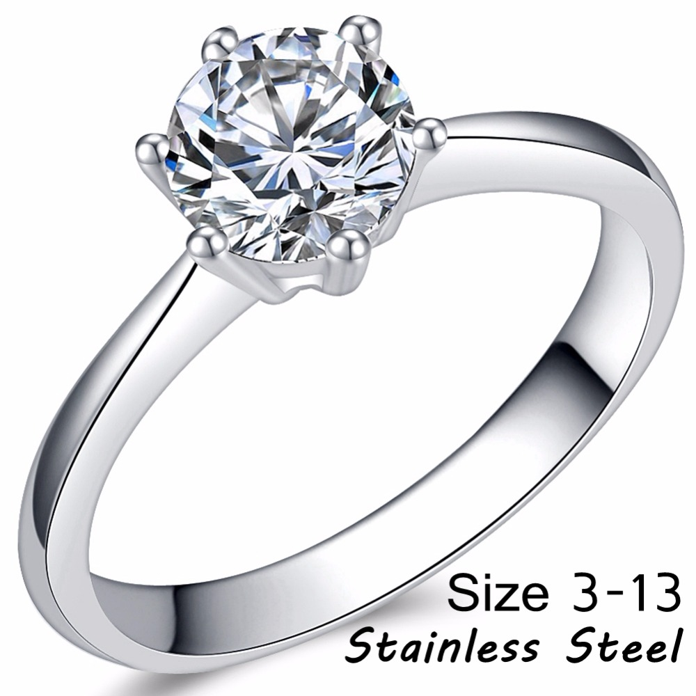 Engagement-Ring Solitaire Carat Proposal Stainless-Steel Promise-Anniversary Wedding title=