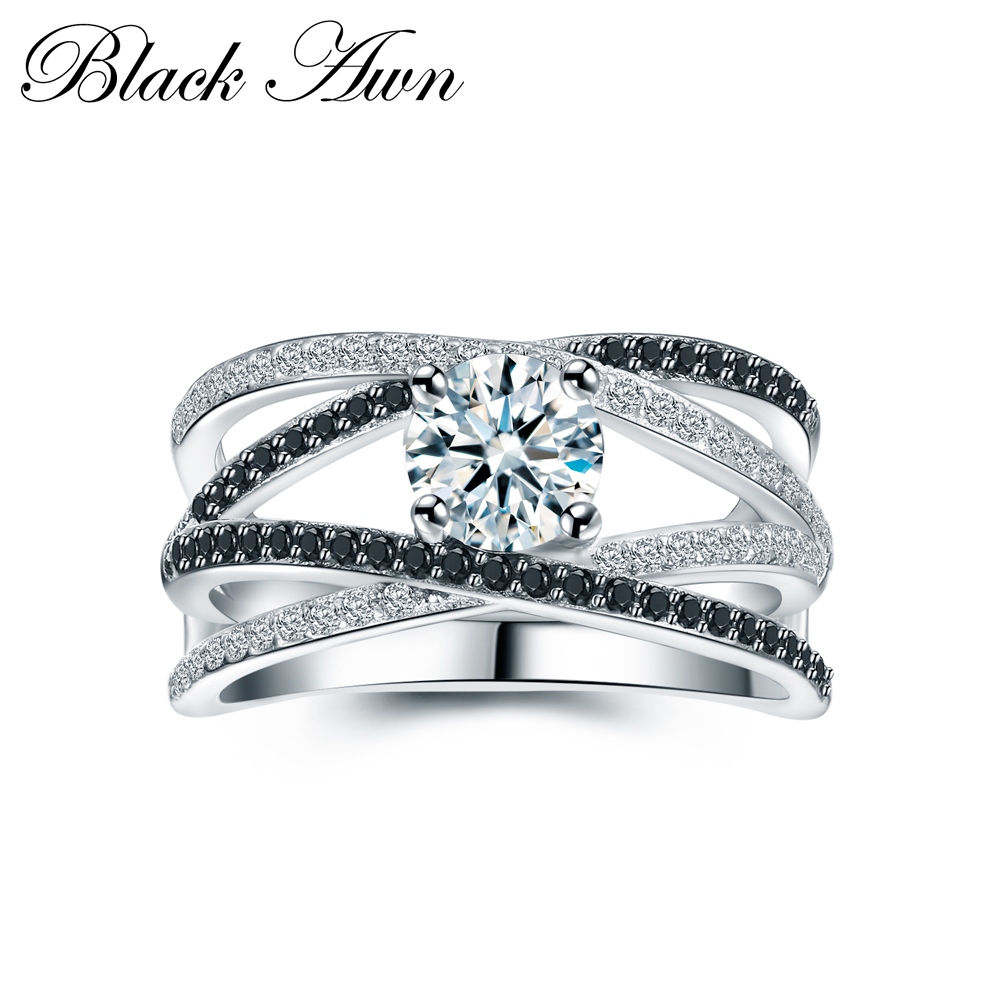 [BLACK AWN] 925 Sterling Silver Rings for Women Hollow Engagement Ring Bijoux Bague Gift Sterling Silver Jewelry C012[BLACK AWN] 925 Sterling Silver Rings for Women Hollow Engagement Ring Bijoux Bague Gift Sterling Silver Jewelry C012