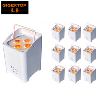Gigertop 10X New Brand 30W 4 LED RGBWA UV Battery Powered Rechargeable Uplighting Par Light Wedding DJ Party Infrared Controller