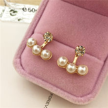 Oorbellen Earing 2018 Fashion Women Three Stud Ear Rings Painting Earrings Brincos Real Time-limited Geometric Trendy Brinco(China)