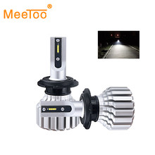 MeeToo H7 Led ampul H4 HS1 Led motosiklet far fansız LED H3 H1 H11 Bombillas Led Para Automovil Moto Scooter lamba 6000K