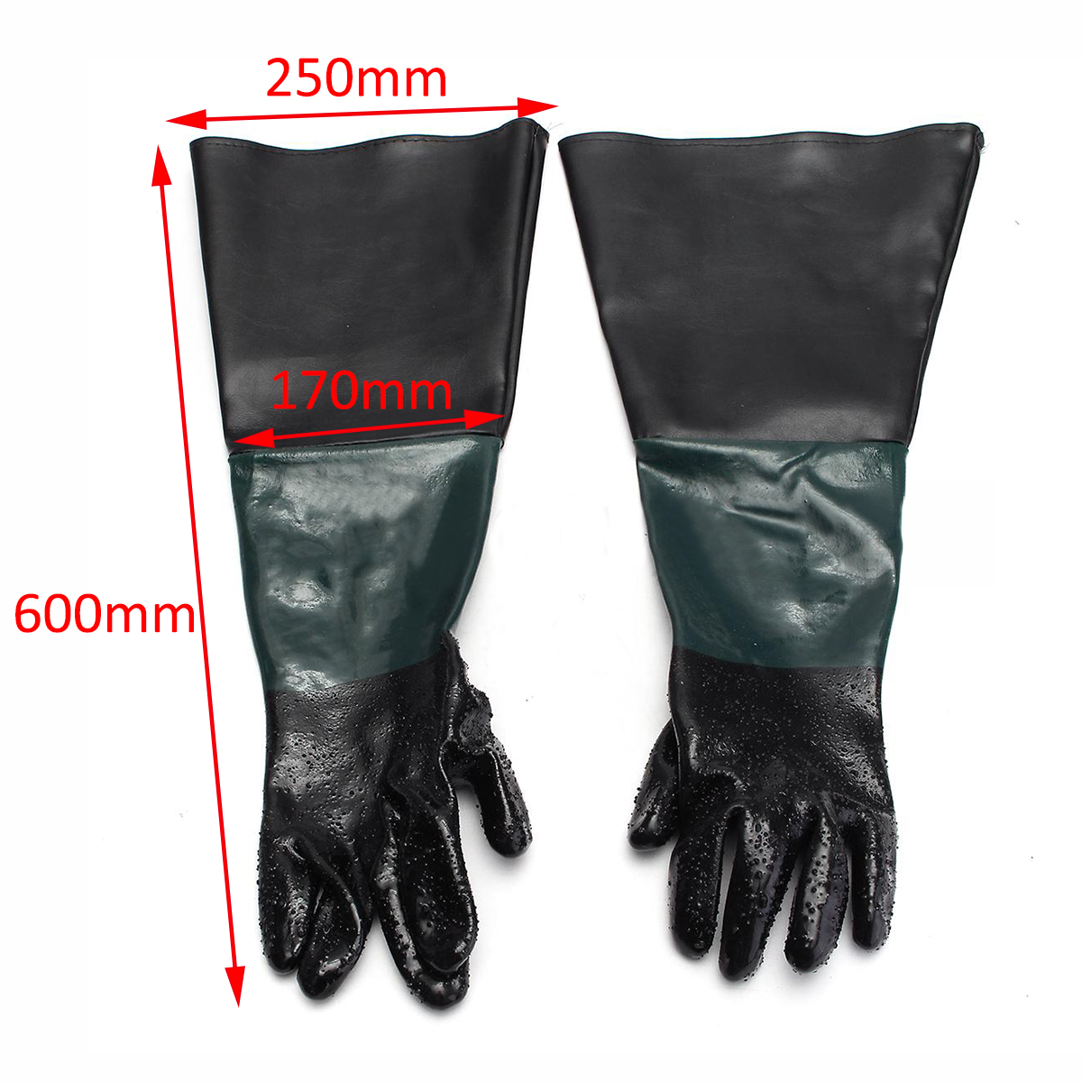 1 Pair Soft Heavy Duty Protective Sandblasting Machine Gloves 60cm For Sandblaster Sand Blast Cabinet Mayitr pvc sandblaster gloves 60cm
