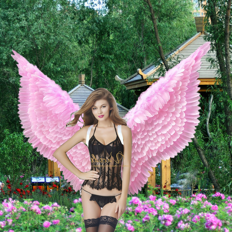 Costumed hot pink cartoon feather angel wings for Fashion show Displays wedding shooting props Cosplay game costume party supply