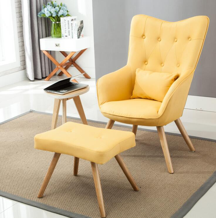 US $168.21 11% OFF|Mid Century Modern Armchair and Footstool Set in Linen  Upholstery Living Room Furniture Occasional Accent Chair With Ottoman-in ...