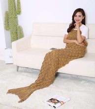 2016 Fashion Handmade Knitted Mermaid Tail Blanket Keep Warm crochet mermaid blanket adult throw bed Wrap sleeping bag 90*190cm