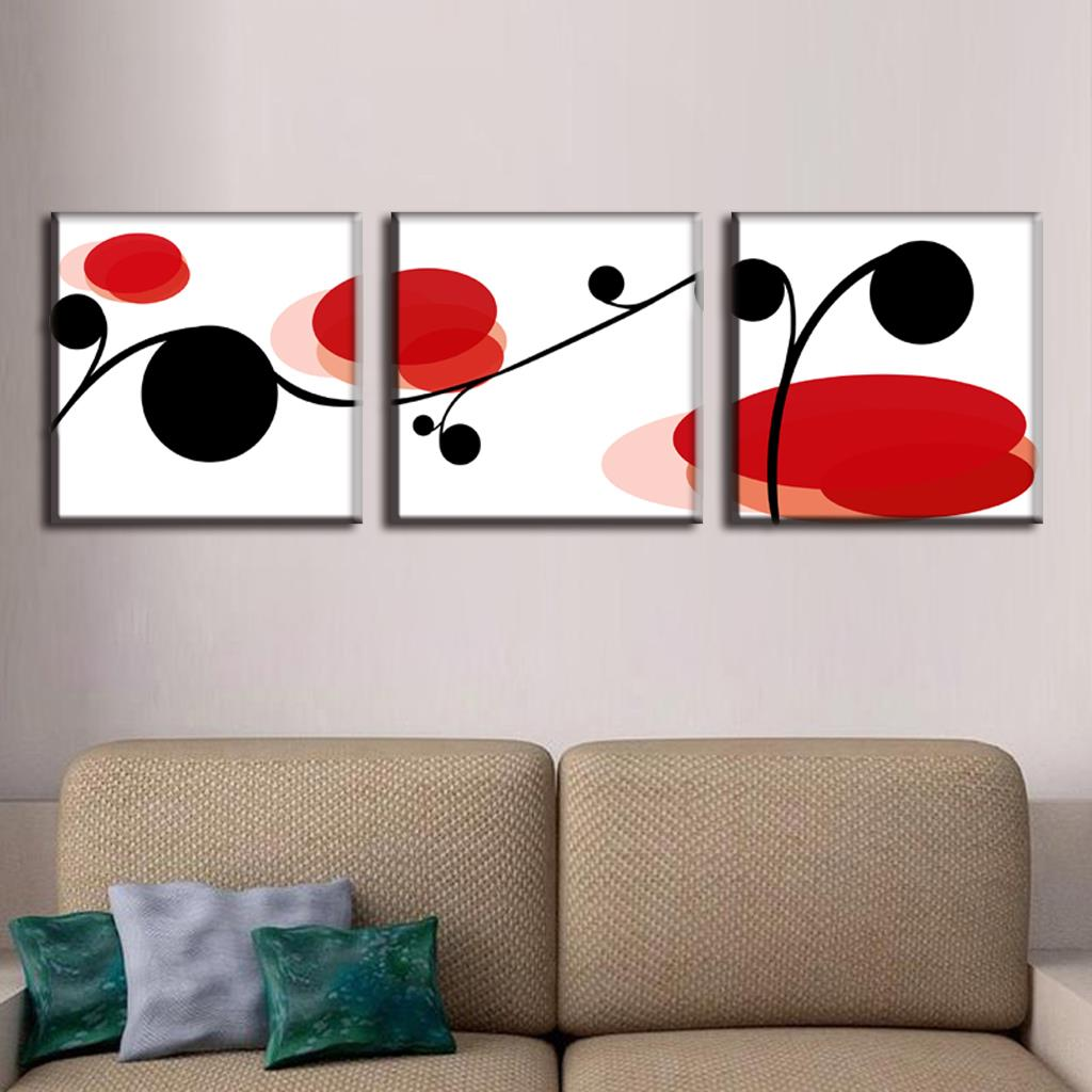 Discount framed painting 3 pieces abstract black and red point canvas prints painting simple wall picture free shipping ab3010