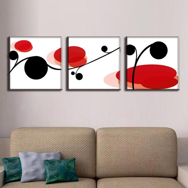 Discount Framed Painting 3 Pieces Abstract Black And Red Point ...