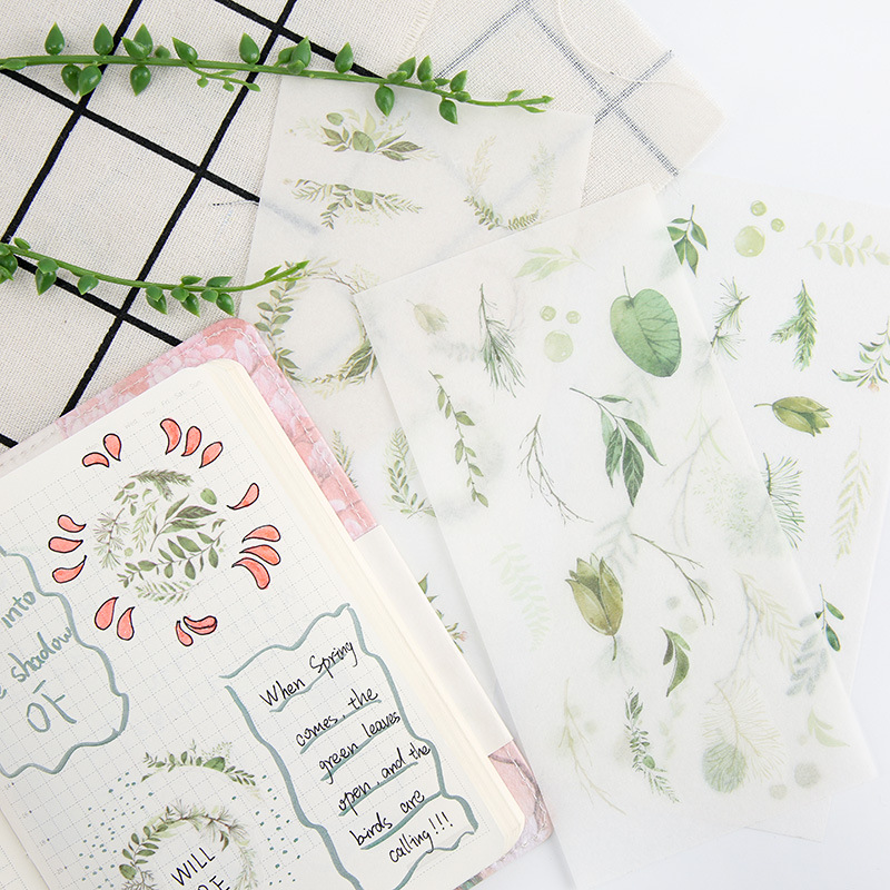 6Sheets/Pack Bright Green Leaves Decoration Scrapbooking Stickers Transparent PVC Stationery Diary Stickers