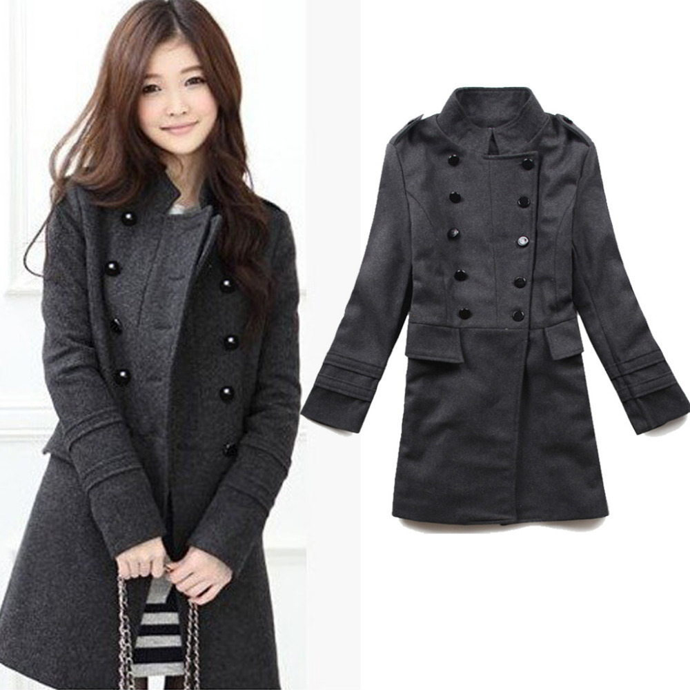 2015 new fashion women winter wool blends long coat black grey double breasted winter warmly. Black Bedroom Furniture Sets. Home Design Ideas