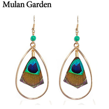 Mulan Garden Ethnic Bohemian Nature Peacock Feather Earrings for Women Big Statement Earrings Fashio Jewelry 2018 Christmas Gift ethnic peacock feather velvet covered edge soft scarf