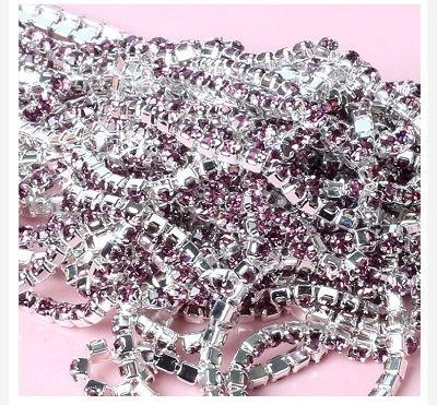 1 ярд/шт, 30 цветов, стеклянные хрустальные стразы на цепочке, Серебряное дно, Пришивные цепочки для рукоделия, украшения сумок для одежды - Цвет: Light Purple