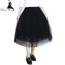 Women Tulle Skirt Elegant 2017 New Fashion High Waist Elastic Mesh Patchwork Rose Lace Flower Long Skirt Female Black Skirts