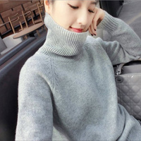 JINJIAXIAN 2019 clearance cashmere sweater female high collar sweater 100 stand loose base knitted sweater sell hot