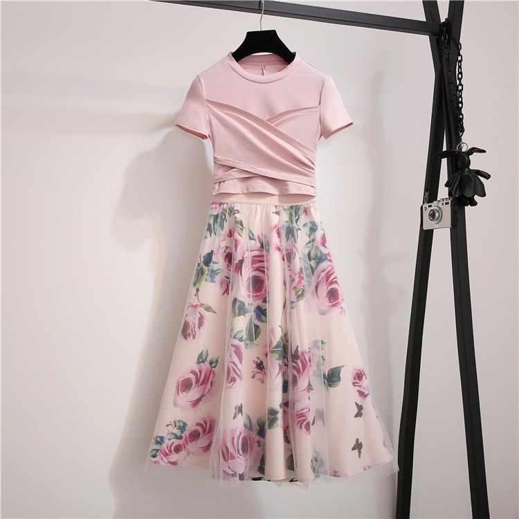 SMTHMA 2020 새로운 패션 디자이너 활주로 세트 여름 여성 짧은 소매 핑크 탑스 + 여성 로즈 인쇄 메쉬 스커트 2 조각 세트