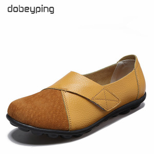 Image 2 - dobeyping New Spring Autumn Shoes Woman Genuine Leather Women Flats Slip On Womens Loafers Female Sewing Shoe Large Size 35 44