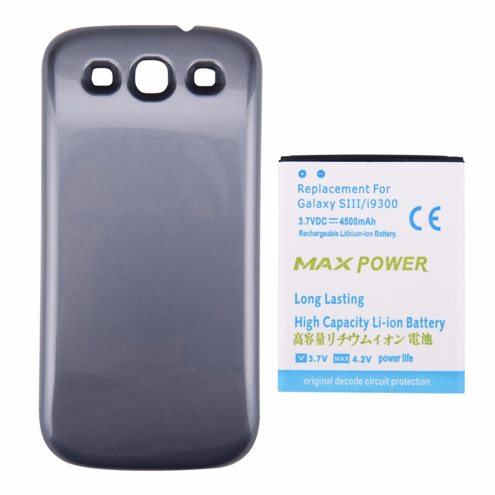 For Samsung S3 Smartphone 4500mAh Replacement Extended Thicker Battery For Galaxy S3 SIII I9300 Battery Bateria +Blue Back Cover