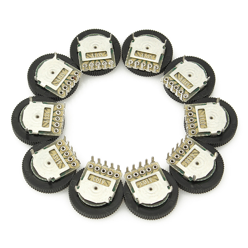 New 10PCS A103 10K Duplex Gear Potentiometer Dial 16x2mm For Radio MP3/MP4 Volume Adjustment Switch Potentiometers