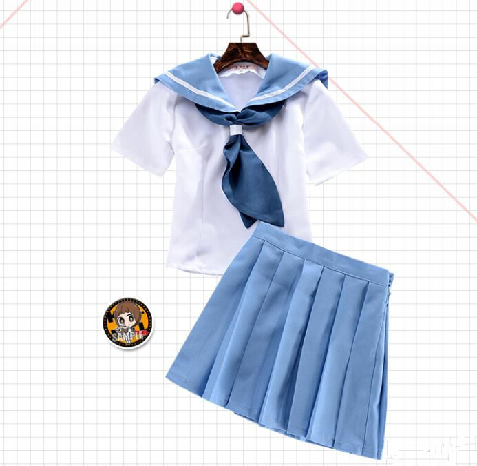 Anime Kill la Kill Mako Mankanshoku Cosplay Costume Cute Slim two-piece Pleated Dress Full Set (T-shirt + skirt )