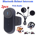 2016 Hot 2PCS Original BT Bluetooth Motorcycle Helmet Intercom Interphone Headset with FM Radio Soft Earphone Helmet Intercom