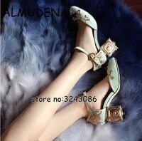 독특한 수제 스타일 금속 하이힐 벨벳 패션 펌프 신발 라운드 발가락 파티 드레스 여성 하이힐 된 꽃 신발