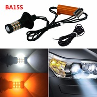 2x PY21W BAU15S LED Turn Signal Bulb Dual Color White Amber 1156 4014 60SMD Canbus Free