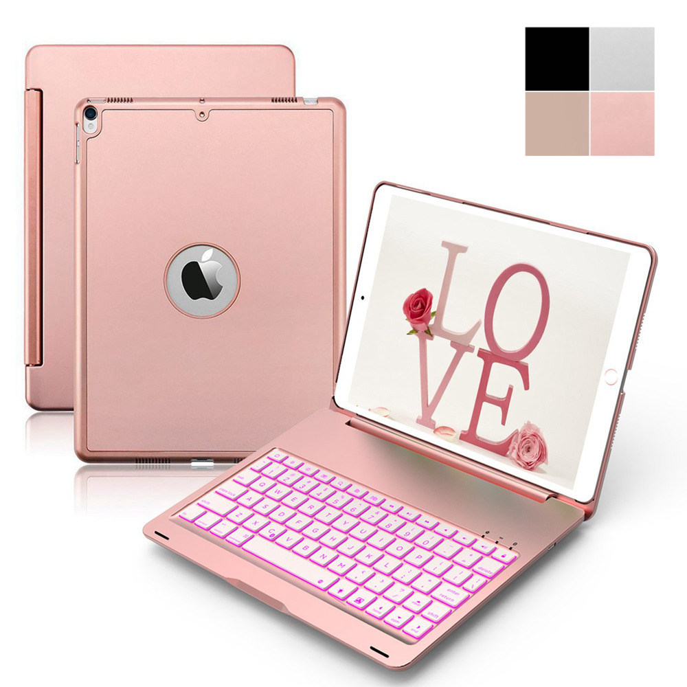 For iPad Pro 10.5 2017 Ultra Thin Smart Aluminum Bluetooth Russian/Spanish/Hebrew Keyboard Case Cover With 7 Colors LED Backlit