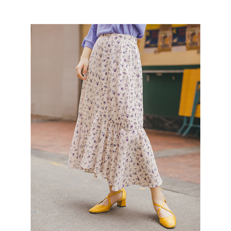 INMAN Summer Cotton Literary Pleated Bud Shape Floral All Matched Women Skirt