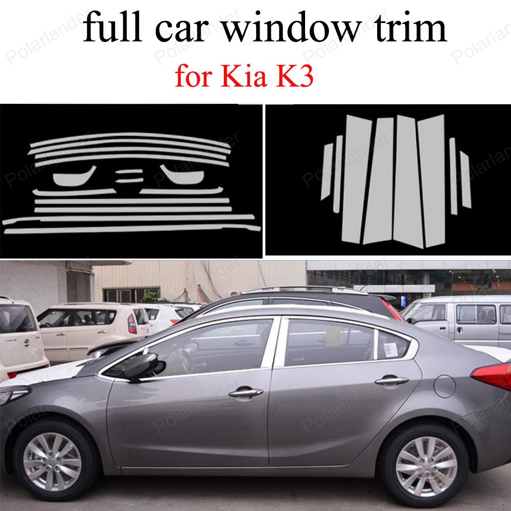 Car Styling full Window Trim Stainless Steel Decoration Strips with center pillar Accessories For K ia K3