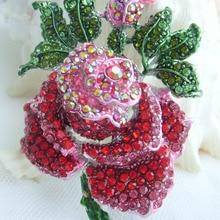 """2,5"""" Серебристые красные стразы хрусталь цветок розы Брошь булавка SMT06635C3"""