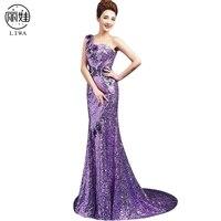Sexy One shoulder Sequied Evening Dresses Long Dress Robe De Soiree Court Train Hem Purple Mermiad Dress Vestido De Festa LF25