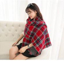 Fashion Women Chic Large Red Tartan Scarf Wrap Shawl Stole Two Side Plaid Checked BLOGGERS New