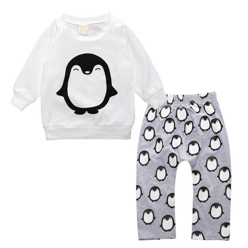 2pcs Baby Girl Clothing Set Spring Autumn Infant Newborn Cartoon Penguin Printed Cotton T-shirt and Trousers Suit Toddler Outfit ropa para bebé recién nacido de moda